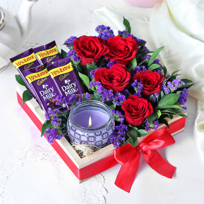 Gift Hamper With Roses & Cadbury Chocolates
