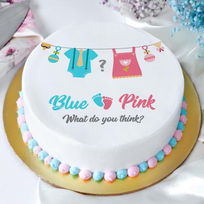 Girl or Boy Baby Shower Poster Cake (Eggless) (1 Kg)