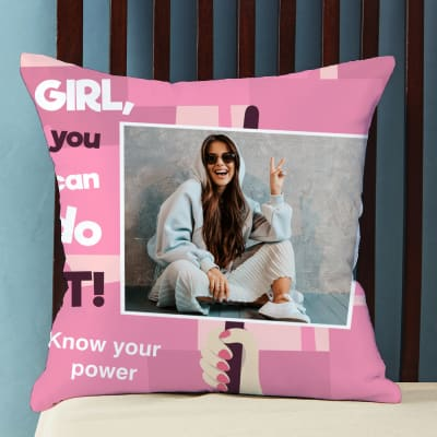 Girl You Can Do It Personalized Satin Cushion