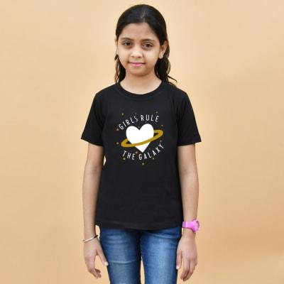 Girls Rule the Galaxy Black T-Shirt for Girls