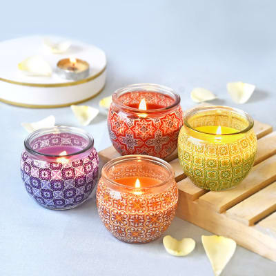 Glass Candles - Apple Cinnamon, Lemongrass, French Vanilla & Fresh Lavender