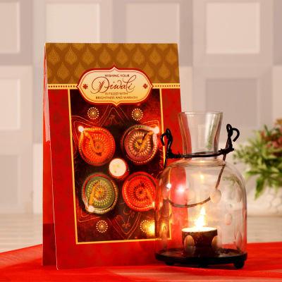 Glass Lantern with Diwali Greeting Card