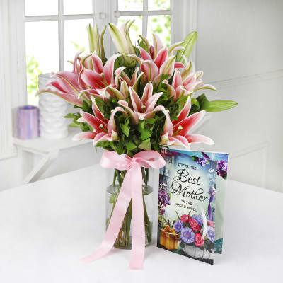 Glass Vase of 6 Pink Lilies with Card