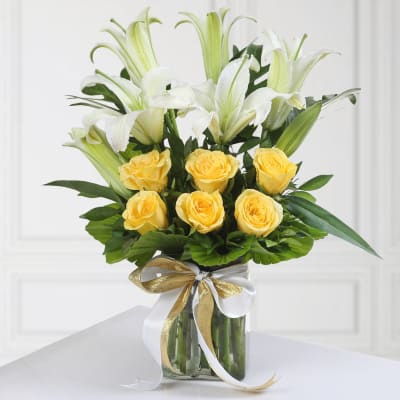 Glass Vase of 6 Yellow Roses & 2 Lilies with Matching Ribbon
