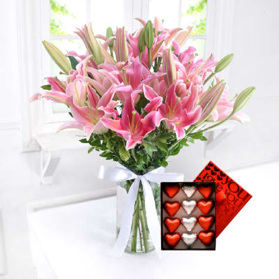 Glass Vase of Lilies with Assorted Chocolates