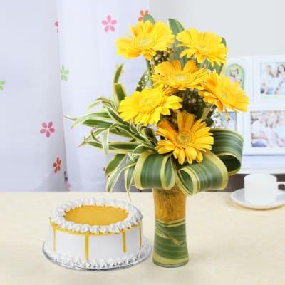 Glass Vase with 6 Gerberas & Butterscotch Cake (Half Kg)