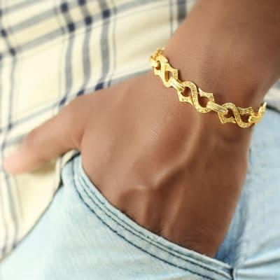 Gold Finish Link Chain Men's Bracelet