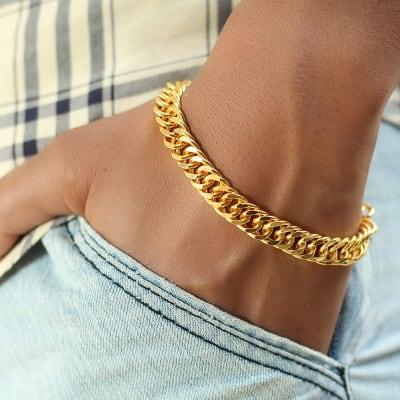 Gold Finish Men's Chain Bracelet
