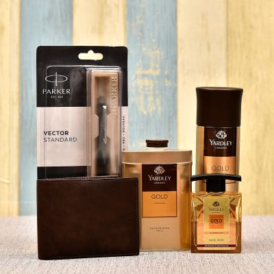 Gold Gift Set with Wallet and Pen