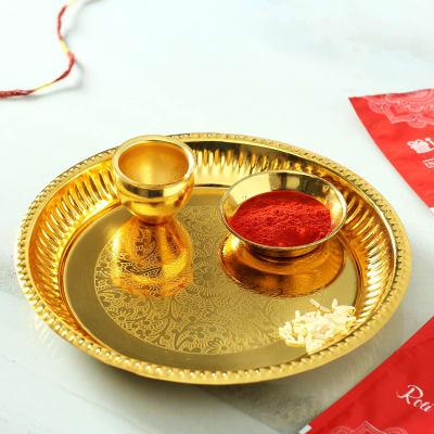 Gold Plated Bhai Dooj Tikka Thali