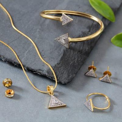 Gold Plated CZ Stone Studded Jewellery Set