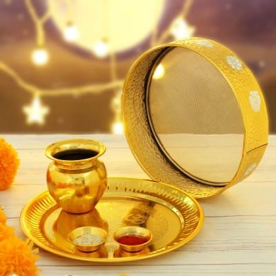 Gold Plated Karwa Chauth Thali Set