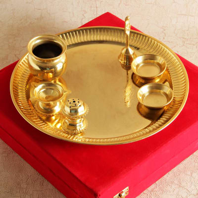 Gold Plated Puja Thali