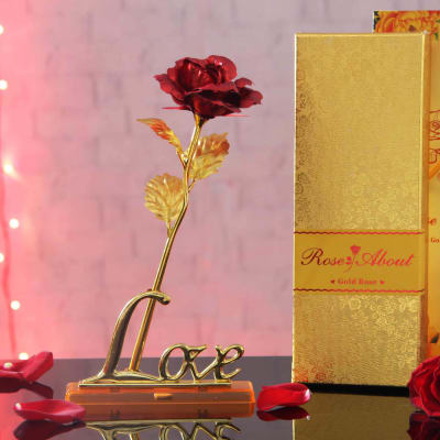 Gold Plated Rose With Red Petals And Love Showpiece