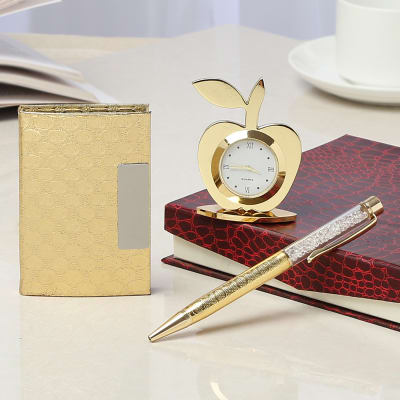 Gold Table Clock With Card Holder And A Pen