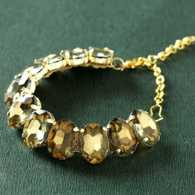 Golden Clear Rhinestone Bracelet for Women