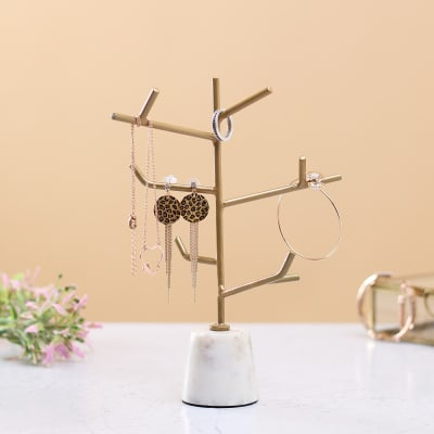 Golden Colored Tree Tower for Jewelry
