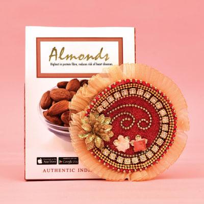 Golden Flower Motif Tikka Thali with 250 gms Almonds Pack
