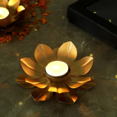Golden Lotus Design Tea-Light Candle