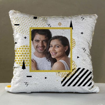 Golden Personalized Sequin Cushion