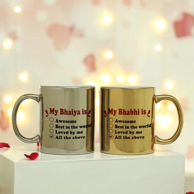 Golden & Silver Metallic Couple Mugs