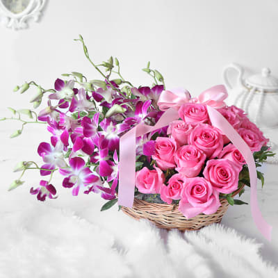 Gorgeous Purple Orchids & Pink Roses in Basket Arrangement
