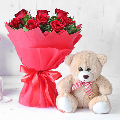 Gorgeous Red Rose Bouquet with Teddy