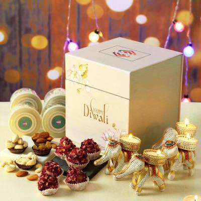 Gourmet Gift Hamper with Designer Diyas - Customized with Logo