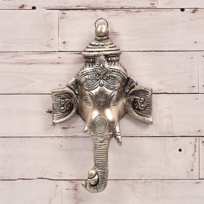 Graceful Ganesha White Metal Wall Hanging