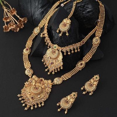 Grand Bridal Gold Polish Necklace Set