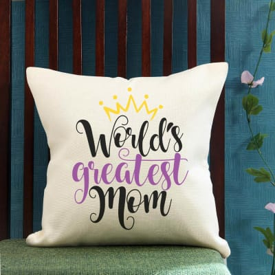 Greatest Mom Jute Cushion