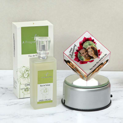 Green Orchid Eau De Parfum with Personalized Rotating Crystal