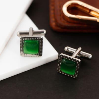 Green Stone Square Men's Cufflinks