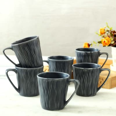 Grey Ceramic Mugs - Set of 6