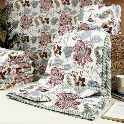 Grey Flower Print Double Bed Cotton Quilt