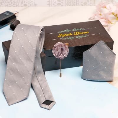 Grey Necktie Set in Personalized Gift Box