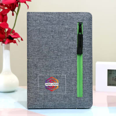 Grey Notebook with Green Zipper Pocket - Customized with Logo