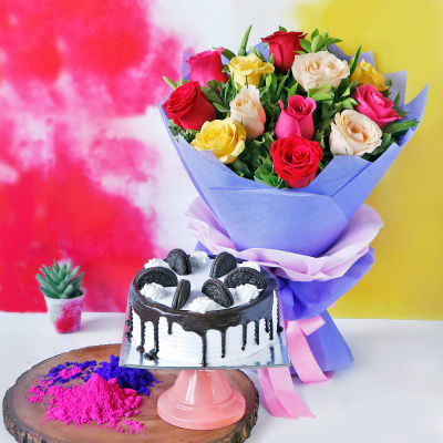 Gulaal with Bouquet and Oreo Cake (Eggless) (Half Kg)