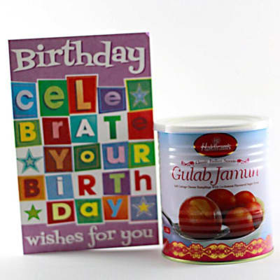 Haldiram 1kg Gulab Jamun With Birthday Greeting Card