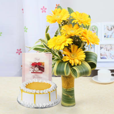 Half Kg Butterscotch Cake (Eggless) with 6 Yellow Gerberas & Father Day Card