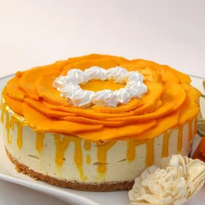 Half Kg Round Mango Cheese Cake with Cream Cheese Base