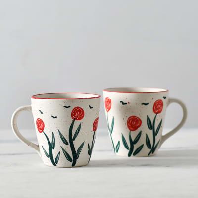 Hand-Painted Stoneware Mug Set
