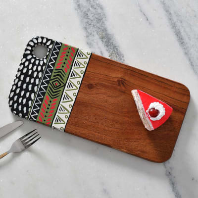 Hand-Painted Wooden Chopping Board/ Serving Platter