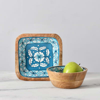Hand-Painted Wooden Serving Platter and Bowl Set