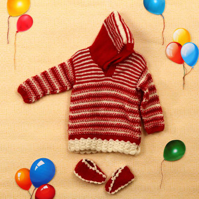 Hand Woven Red White Baby Suit