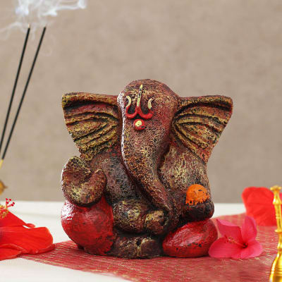 Handcrafted Ganesha Idol in Red & Brown