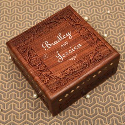 Handcrafted Personalized Couple Name Sheesham Wood Jewellery Box