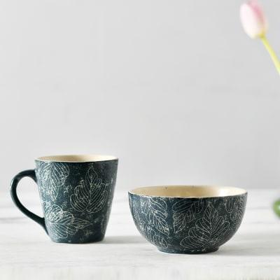 Handcrafted Stoneware Ceramic Bowl And Mug Set