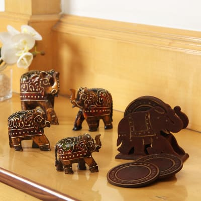 Handcrafted Wooden Elephant Showpiece With Coasters