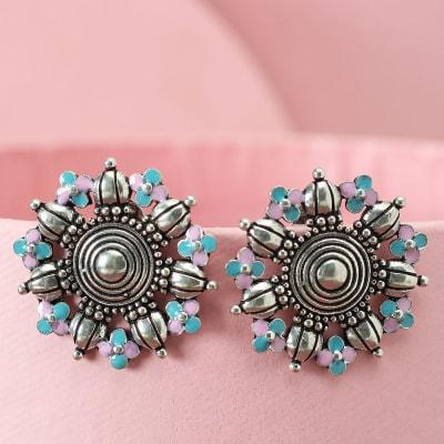 Handmade Earrings with Antique White Polish